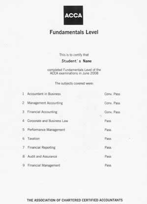 ACCA证书